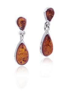 Earring Baltic Amber and Sterling Silver – Teardrop