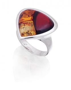 Ring Cherry, Baltic Amber, Sterling Silver – Triangle