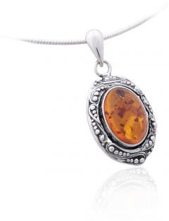 Pendant Baltic Amber and Sterling Silver – Oval