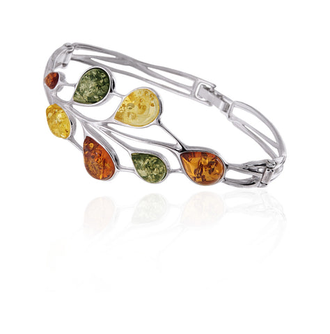 Bracelet Multicolor Baltic Amber and Sterling Silver – Teardrop