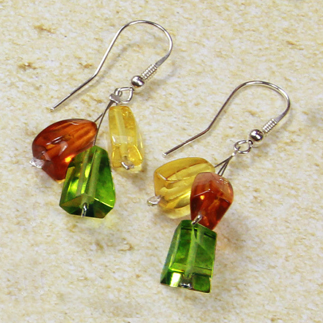Earring Baltic Amber and Copal – Caribbean Dream Rectangle