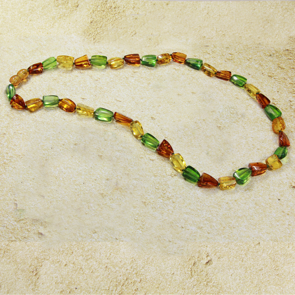 Necklace Baltic Amber and Copal – Caribbean Dream Oval