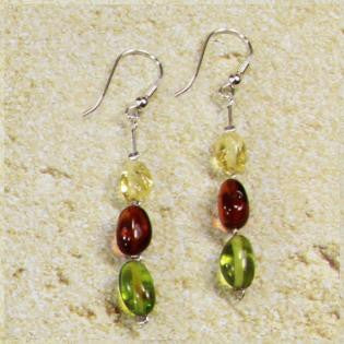 Earring Baltic Amber and Copal – Caribbean Dream Oval