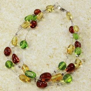 Bracelet Baltic Amber and Green Copal – Caribbean Dream – Oval