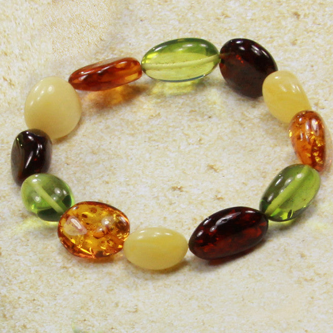 Bracelet Baltic Amber and Green Copal – Caribbean Dream Oval