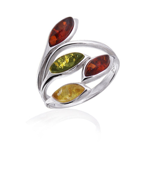 Ring Multicolor Baltic Amber and Sterling Silver – Oval Marquise