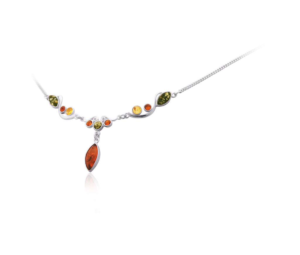 Necklace Multicolor Baltic Amber and Sterling Silver – Round Swirl
