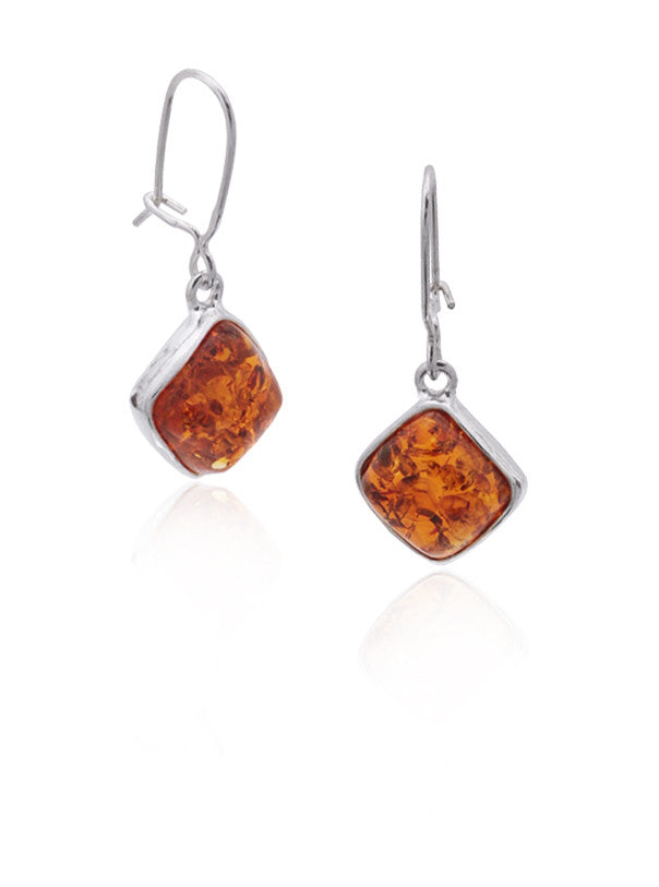 Earring Baltic Amber and Sterling Silver – Diamond