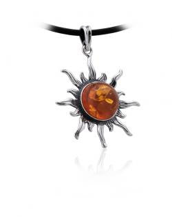Pendant Oxidized Baltic Amber and Sterling Silver - Sun
