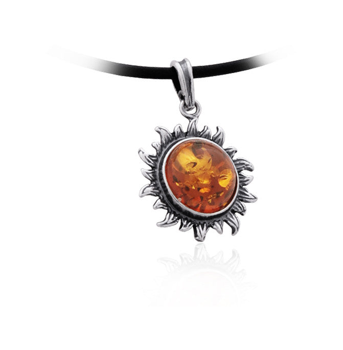 Pendant Baltic Amber and Sterling Silver – Sunflower