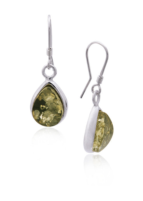 Earring Green Baltic Amber and Sterling Silver – Teardrop