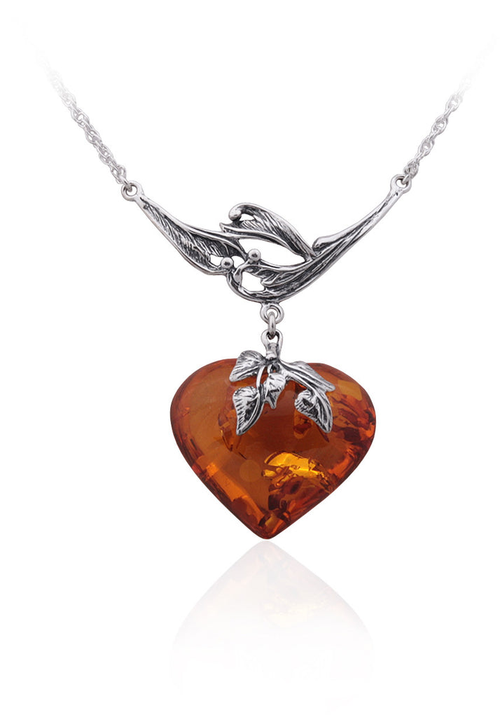 Necklace Baltic Amber and Sterling Silver – Heart