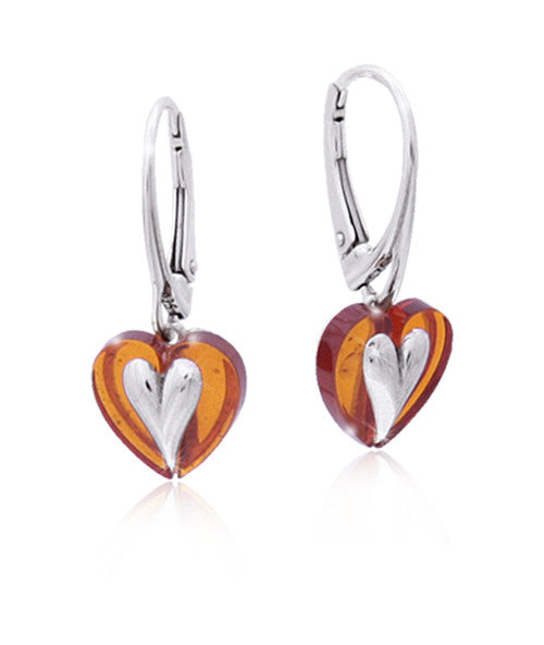 Earring Baltic Amber and Sterling Silver – Heart