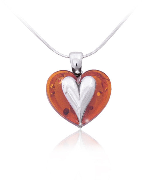 Pendant Baltic Amber and Sterling Silver – Heart