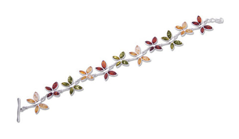 Bracelet Multicolor Baltic Amber and Sterling Silver – Butterfly Link