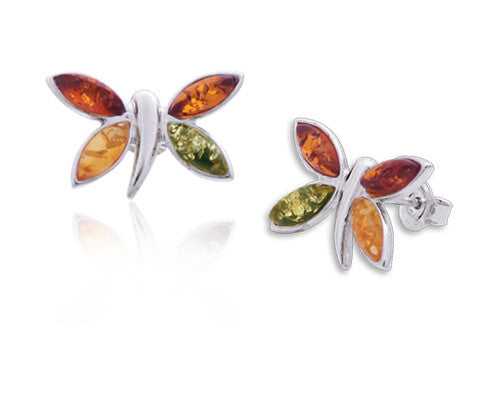 Earring Multicolor Baltic Amber and Sterling Silver – Butterfly