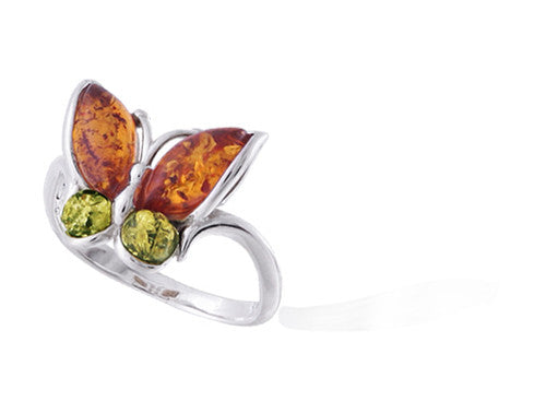 Ring Honey Green Baltic Amber and Sterling Silver – Butterfly