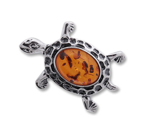 Pin Honey Baltic Amber and Sterling Silver – Turtle
