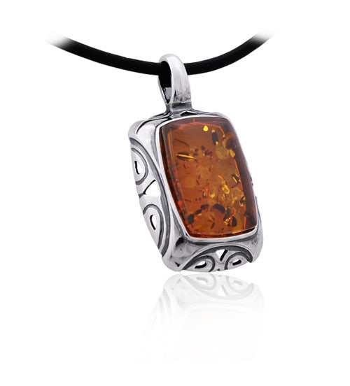 Pendant Honey Baltic Amber and Sterling Silver – Rectangle