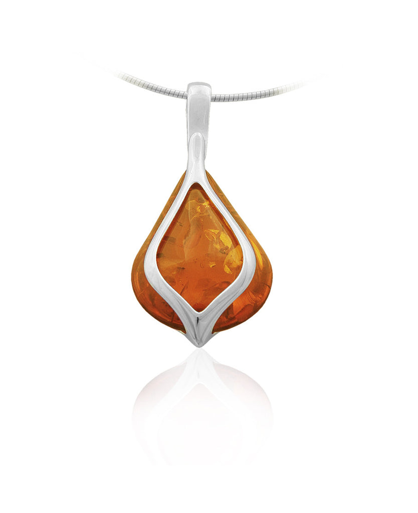 Pendant Honey Baltic Amber and Sterling Silver – Teardrop