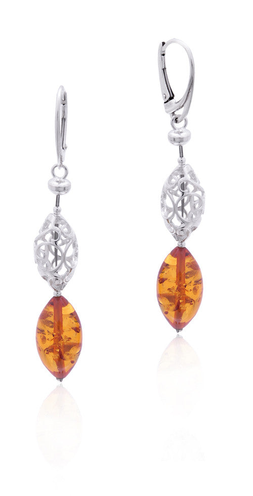 Earring Baltic Amber and Sterling Silver - Oval
