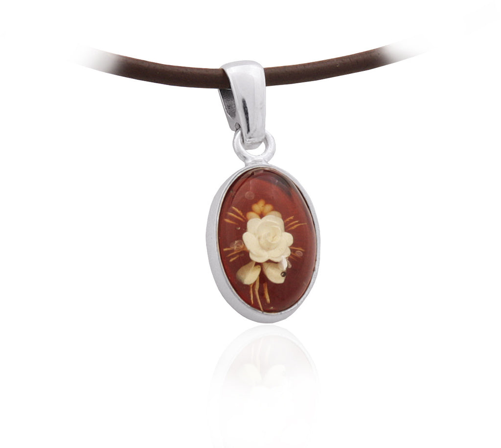 Pendant Honey Baltic Amber and Sterling Silver – Oval Flower