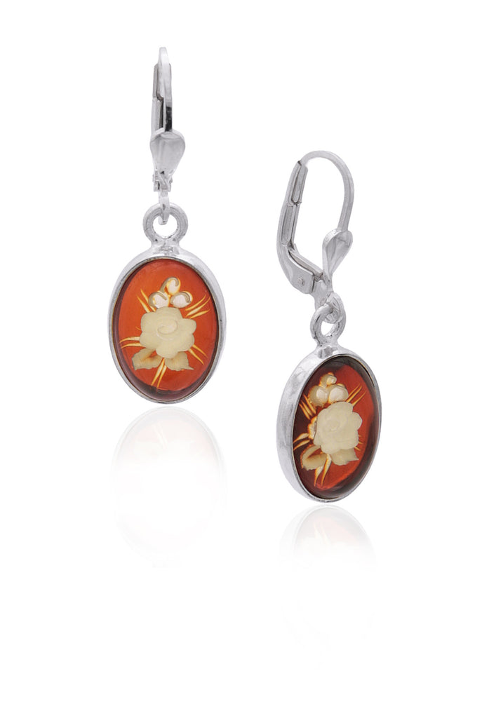Earring Honey Baltic Amber and Sterling Silver – Oval Flower