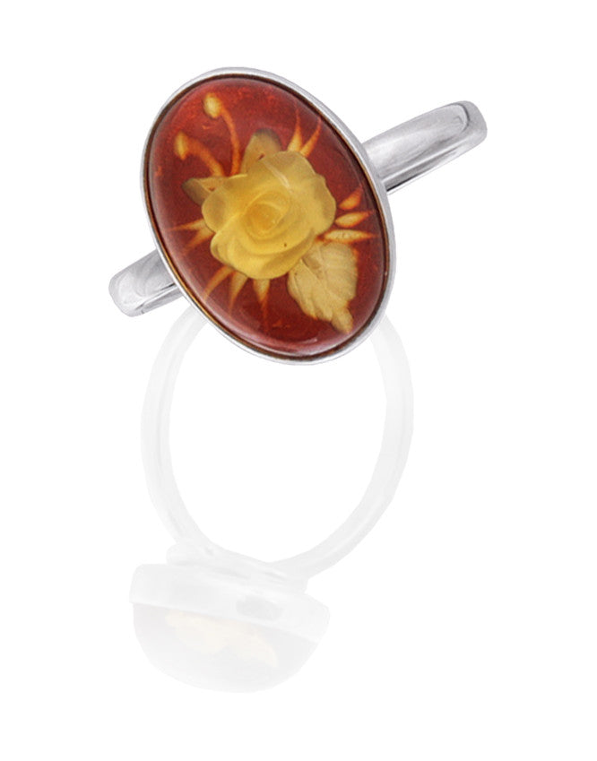 Ring Baltic Amber and Sterling Silver – Oval Flower