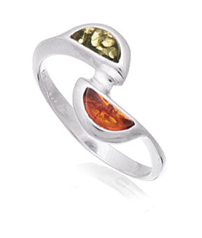 Ring Green Honey Baltic Amber and Sterling Silver – Semicircle