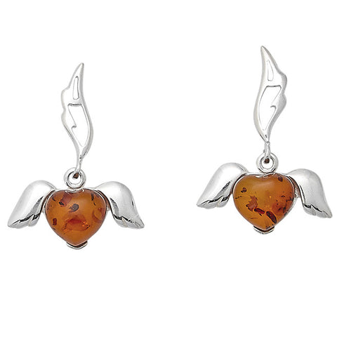 Earring Amber and Sterling Silver – Angel Heart