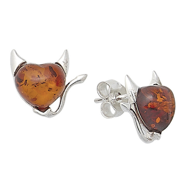 Earring Baltic Amber and Sterling Silver – Naughty Devil