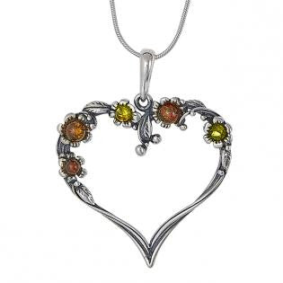 Pendant Multicolor Baltic Amber – Flower Heart