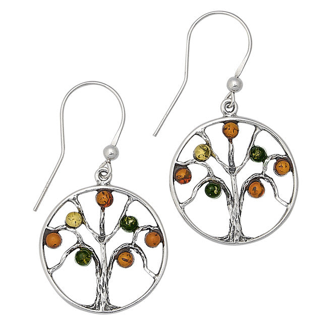 Earring Multicolor Baltic Amber and Sterling Silver – Tree