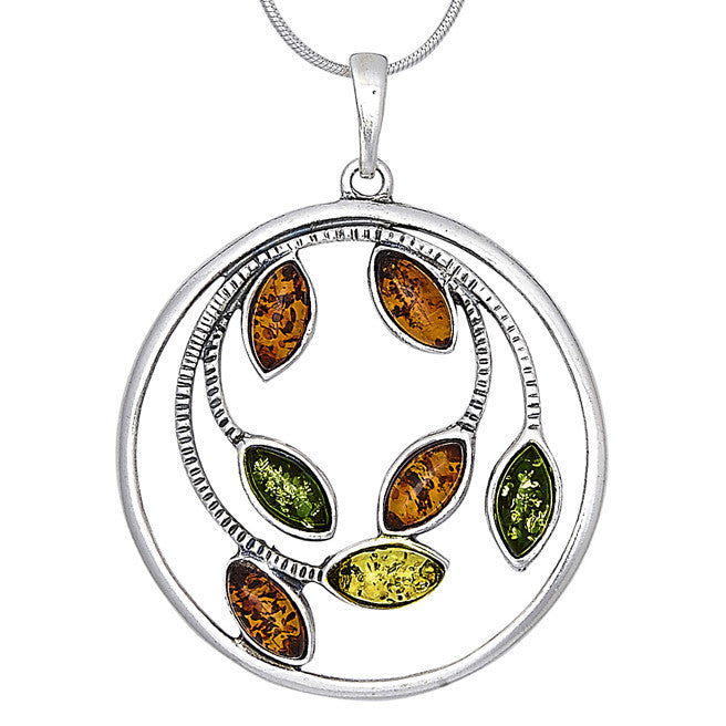Pendant Multicolor Baltic Amber – Leaf Tree Branches