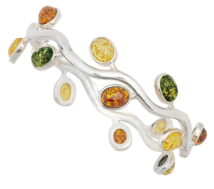 Bracelet Multicolor Baltic Amber and Sterling Silver – Round