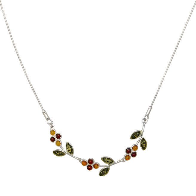 Necklace Multicolor Amber and Sterling Silver – Flower