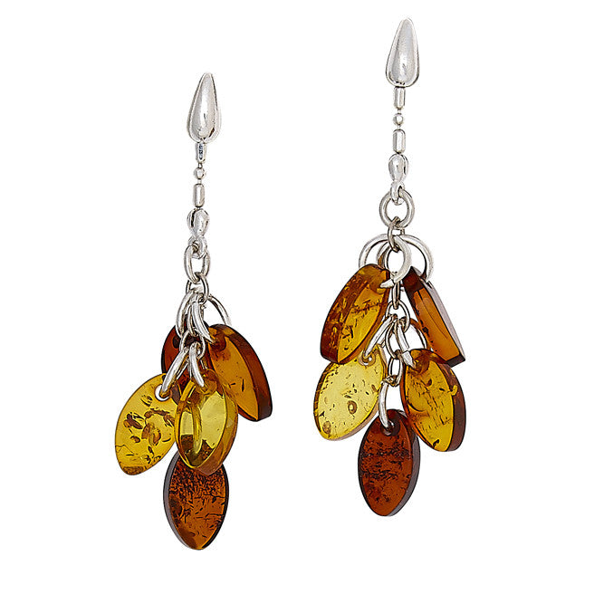 Earring Multicolor Amber and Sterling Silver – Teardrop Marquise