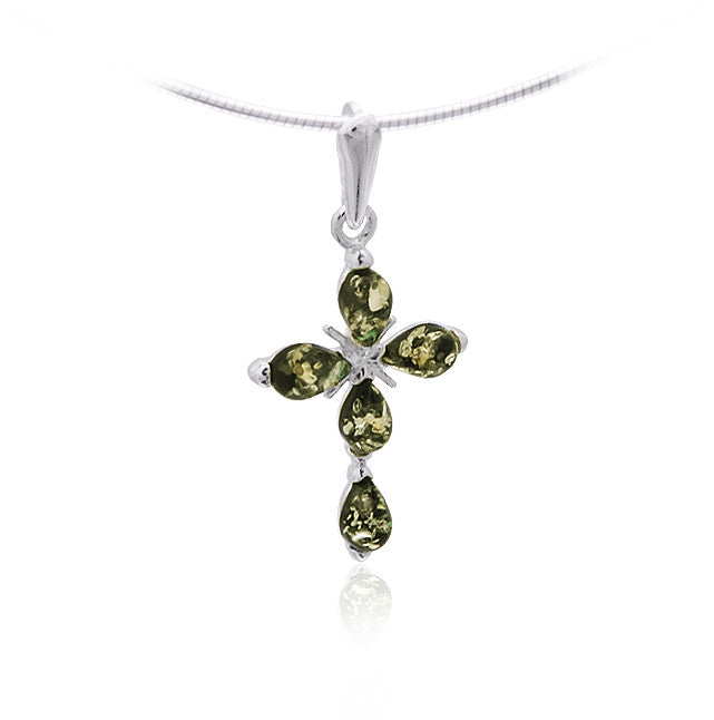 Pendant Green Baltic Amber and Sterling Silver – Cross