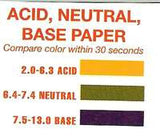 pH Test Paper - Acid, Neutral, Base
