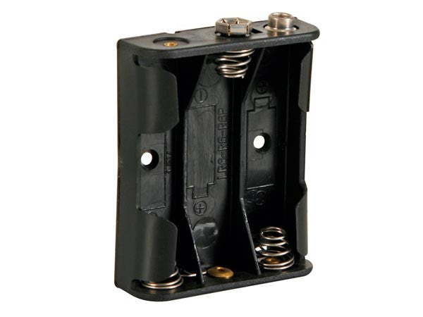 Battery holder for 3 x aa-cell (with snap terminals)
