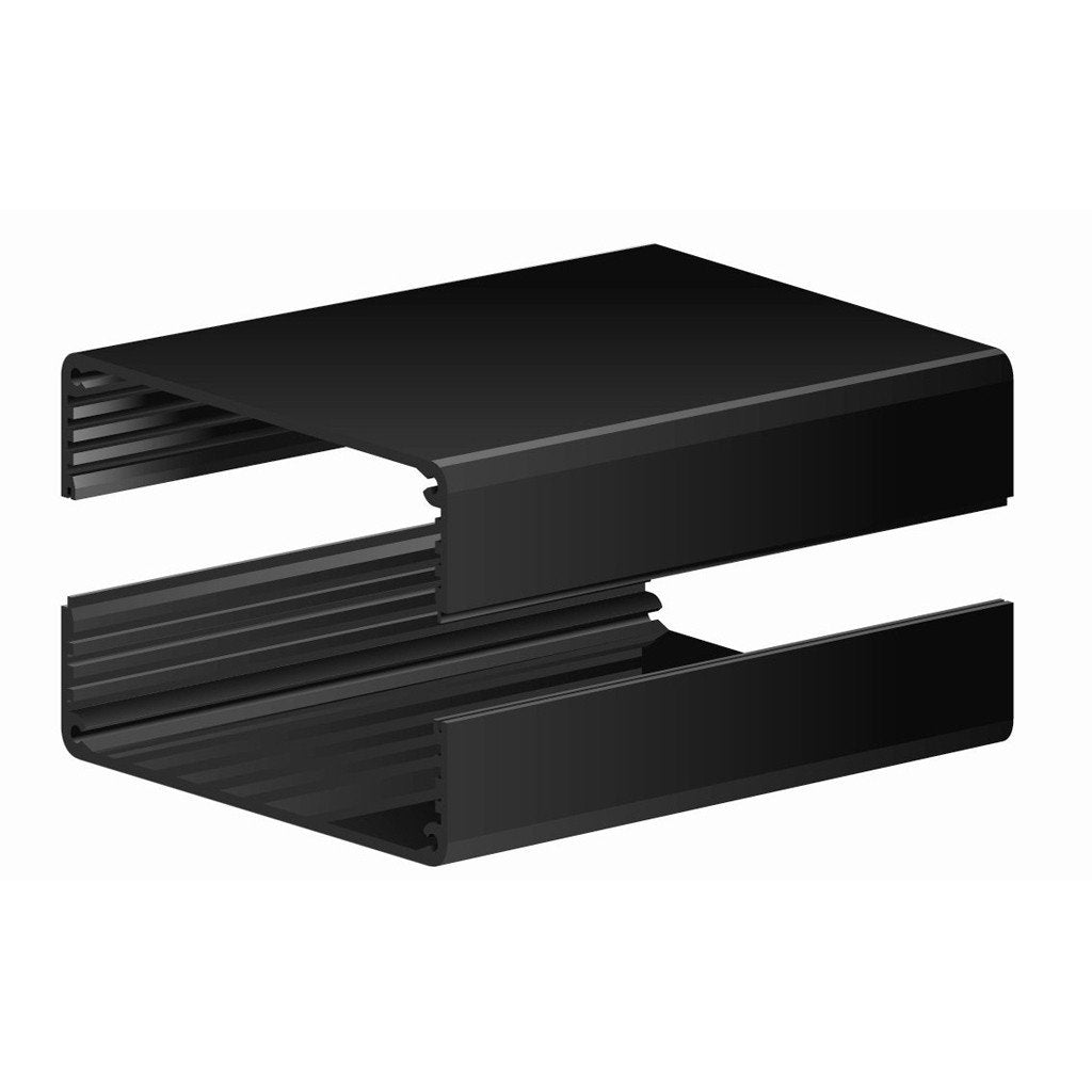 "4012H-6B ~ Split Body Black Anodized Aluminum Enclosure w/ Plain End Plates 6.0"" L x 4.145"" W x 2.45"" H"