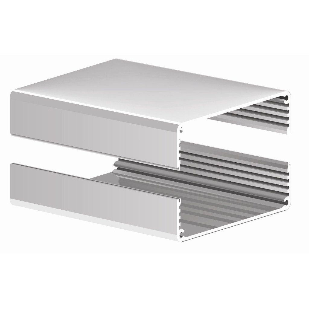 "6008H-8.5N ~ Split Body Natural Aluminum Enclosure w/ Plain End Plates 8.5"" L x 6.135"" W x 1.908"" H - The Science Shop"