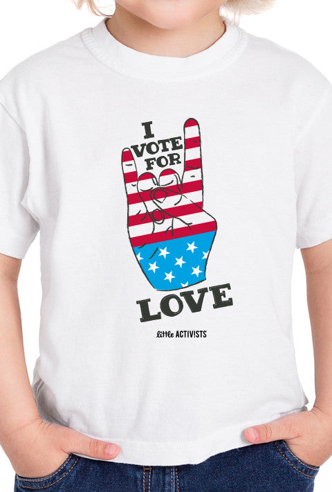 I Vote for LOVE - Youth T-Shirt (available in Heather Grey and White)