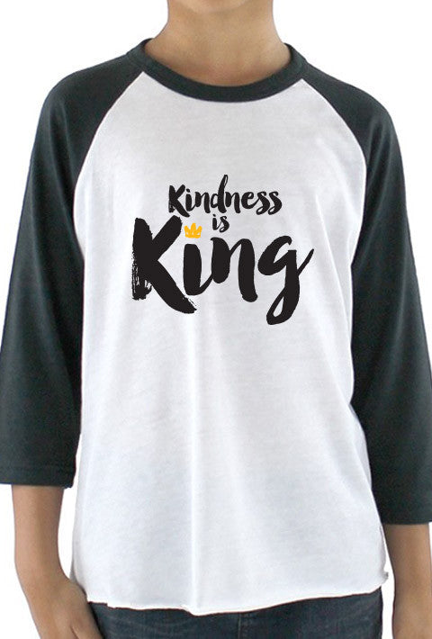 Kindness is King - Youth Baseball T-Shirt