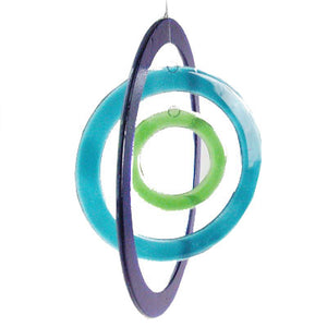 Windchime  3 Circles Aqua Blue Green