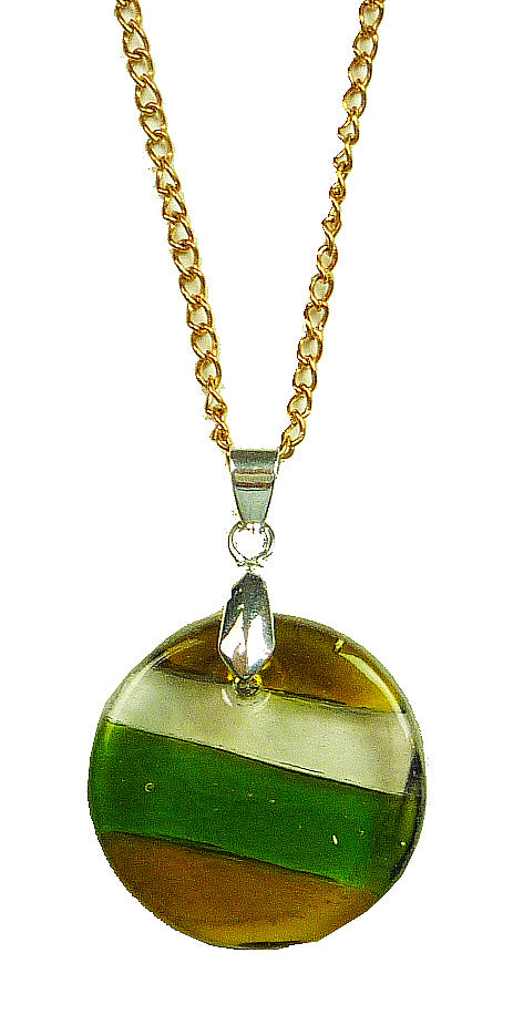 Recycled Glass Bottle Multi Strip  Round Necklace