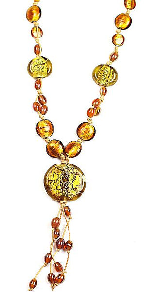 Glass Beads  Necklace Silver Foil Amber