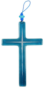 Glass Cross Aqua Silver Lines