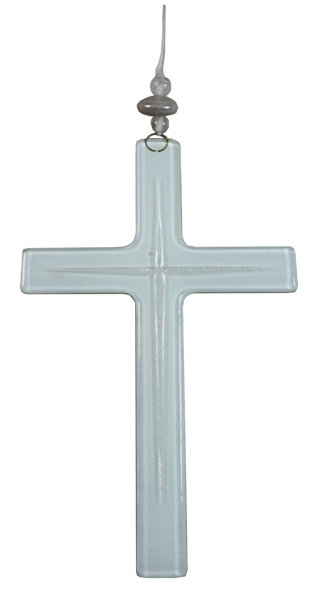Glass Cross White Silver   Lines