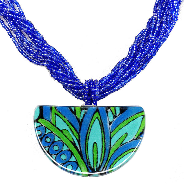 Calypso Classic Half Moon Necklace Multi strand seed beads